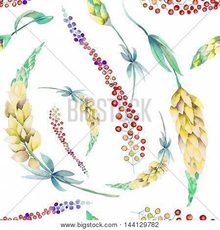 Seamless pattern with the watercolor yellow lupine flowers and abstract mimosa flowers, hand-drawn on a white background