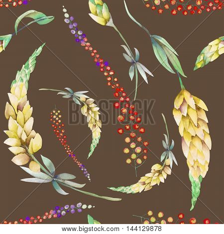 Seamless pattern with the watercolor yellow lupine flowers and abstract mimosa flowers, hand-drawn on a brown background