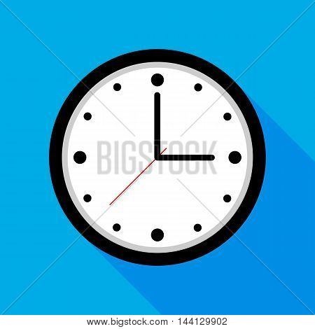 Clock icon Vector illustration flat design with long shadow - Vector design EPS 10