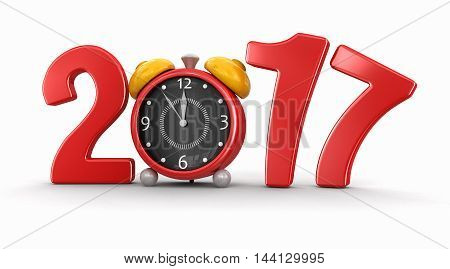 3D Illustration. New Year 2017 with alarm clock. Image with clipping path.