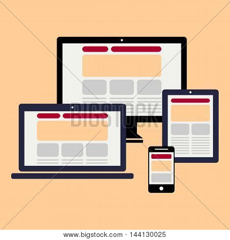 Design for web - computer notebook smartphone tablet icons set - Vector design EPS 10