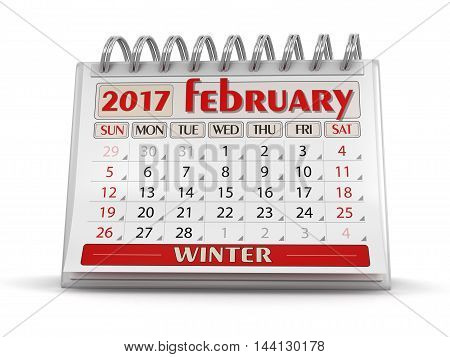 3D Illustration. Calendar -  february 2017  (clipping path included)