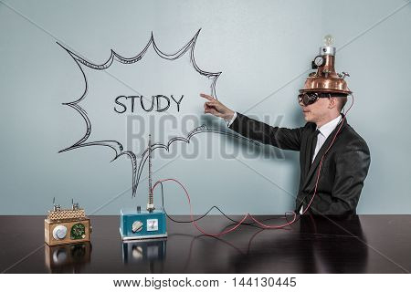 Study concept with vintage businessman pointing hand
