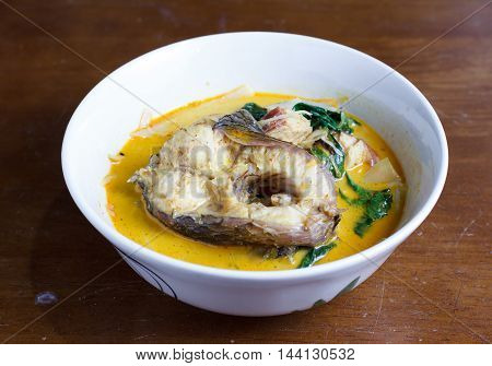Thai foodspicy snakehead curry with bamboo shoots select focus