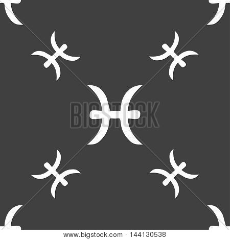 Pisces Zodiac Sign Sign. Seamless Pattern On A Gray Background. Vector