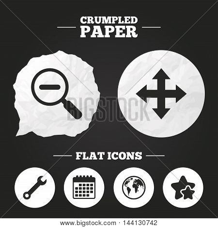 Crumpled paper speech bubble. Magnifier glass and globe search icons. Fullscreen arrows and wrench key repair sign symbols. Paper button. Vector