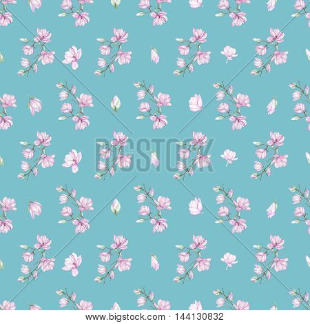 Seamless floral pattern with fine magnolias painted with watercolors on turquoise background