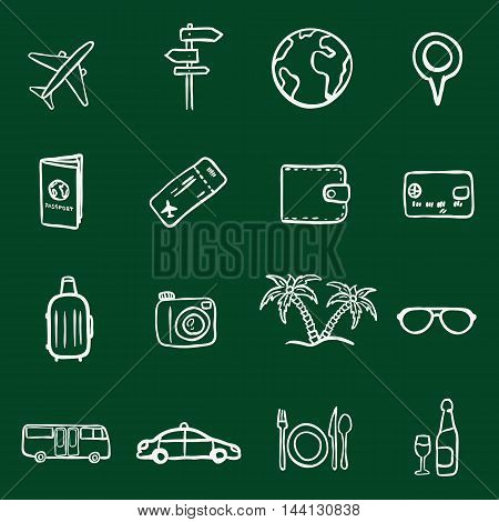 Vector Set of Chalk Doodle Travel and Vacation Icons