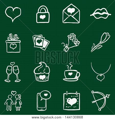 Vector Set of Chalk Doodle Valentine Icons