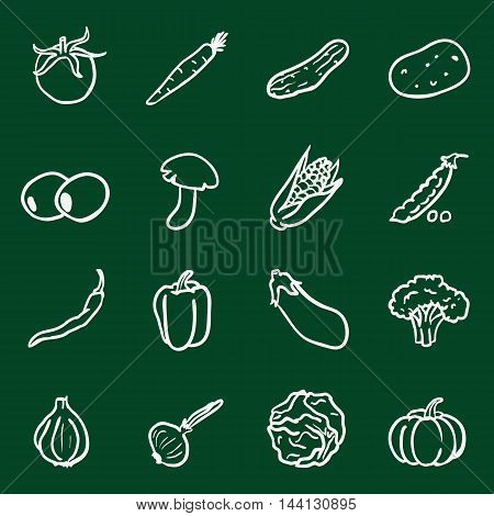 Vector Set of Chalk Doodle Vegetables Icons. Tomato, Carrot, Cucumber, Potato, Olives, Mushroom, Corn, Peas, Chili Peper, Paprika, Eggplant, Brocolli, Cauliflower, Garlic, Onion, Cabbage, Pumpkin.