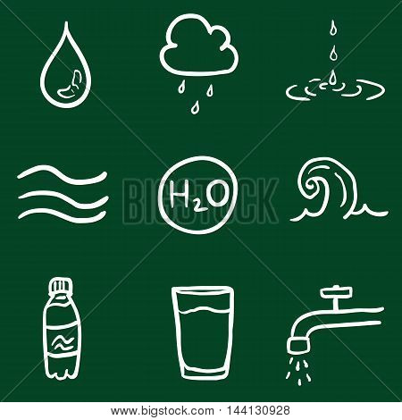 Vector Set of Chalk Doodle Water Icons