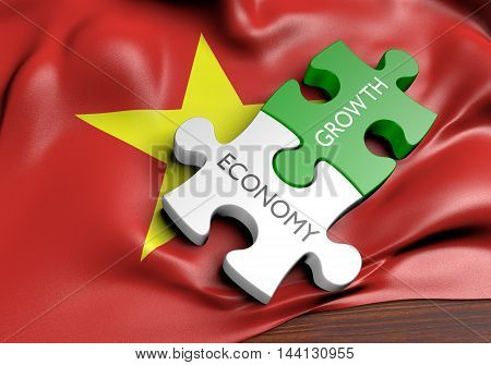 Vietnam economy and financial market growth concept, 3D rendering