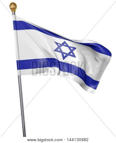 National flag for country of Israel isolated on white background, 3D rendering