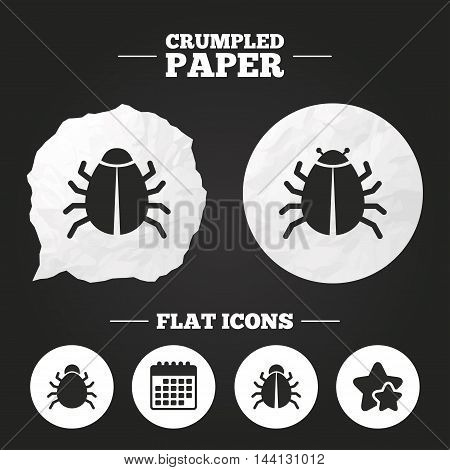 Crumpled paper speech bubble. Bugs vaccination icons. Virus software error sign symbols. Paper button. Vector