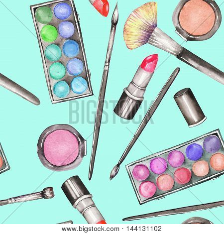A seamless pattern with the makeup tools:  blusher, eyeshadow, lipstick and makeup brushes. All elements were hand-drawn in a watercolor on a mint background.