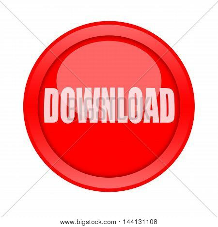 Big red round download button isolated on white background