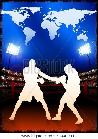 Boxing with World Map on Stadium Background Original Illustration