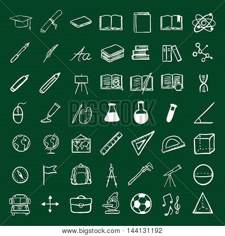 Vector Doodle Education Icons Set. University and School Subject Icons.
