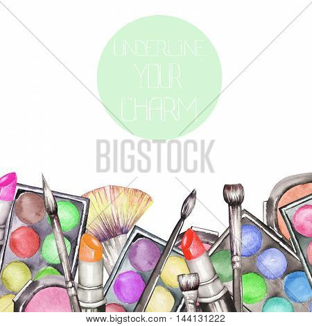 A frame border with the makeup tools:  blusher, eyeshadow, lipstick and makeup brushes. All elements were hand-drawn in a watercolor on a white background.