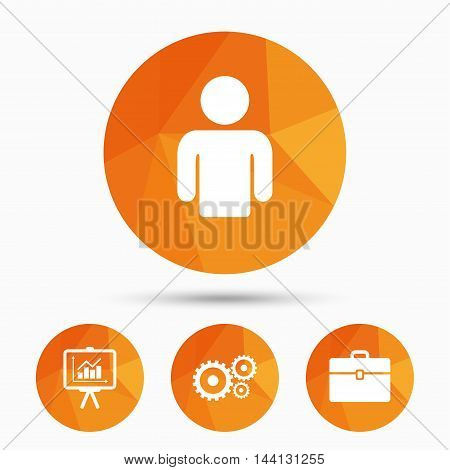 Business icons. Human silhouette and presentation board with charts signs. Case and gear symbols. Triangular low poly buttons with shadow. Vector