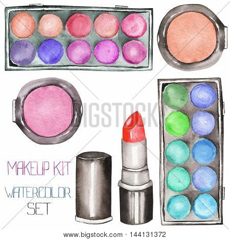 A set with the makeup tools:  blusher, eyeshadow, lipstick. All elements were hand-drawn in a watercolor on a white background.