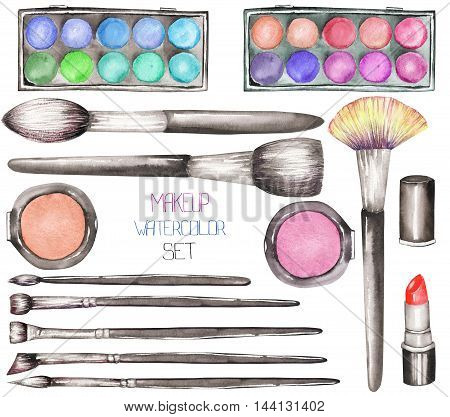 A set with the makeup tools:  blusher, eyeshadow, lipstick and makeup brushes. All elements were hand-drawn in a watercolor on a white background.