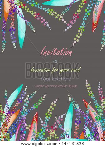 Card template with the floral design; watercolor abstract variegated mimosa flowers and leaves, hand-drawn in a watercolor;  invitation, decoration for a wedding, greeting card on a grey background