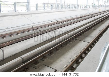 Railway high-speed train. steel and concrete structure.