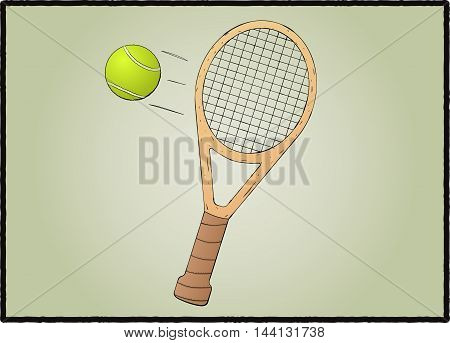 Stylized tennis racket with ball vector illustration