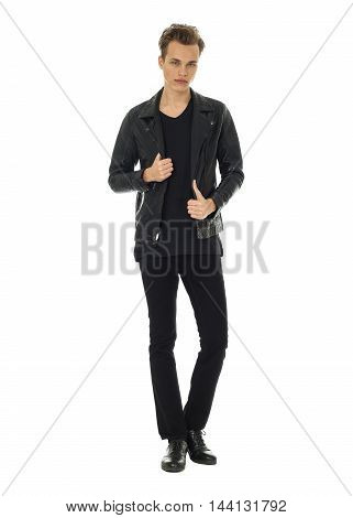 Handsome Attractive Man Guy Wearing Leather Jacket