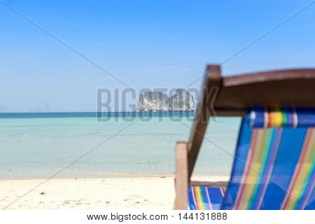vacation time background focus on islands blur chair for feeling