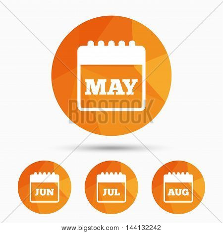 Calendar icons. May, June, July and August month symbols. Date or event reminder sign. Triangular low poly buttons with shadow. Vector