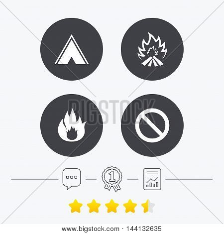 Tourist camping tent icon. Fire flame and stop prohibition sign symbols. Chat, award medal and report linear icons. Star vote ranking. Vector