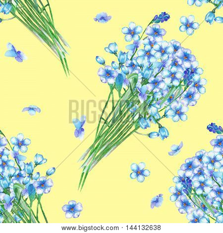 Seamless floral pattern with the bouquets of blue forget-me-not flowers (Myosotis), painted in a watercolor on a yellow background