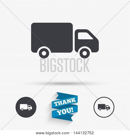 Delivery truck sign icon. Cargo van symbol. Flat icons. Buttons with icons. Thank you ribbon. Vector