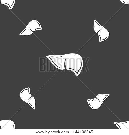 Liver Sign. Seamless Pattern On A Gray Background. Vector