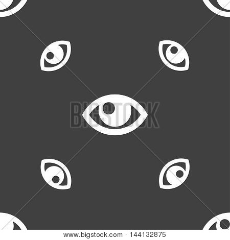 Eye Sign. Seamless Pattern On A Gray Background. Vector