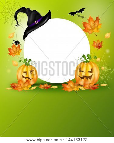 Cute illustration of halloween holiday background with pumpkins