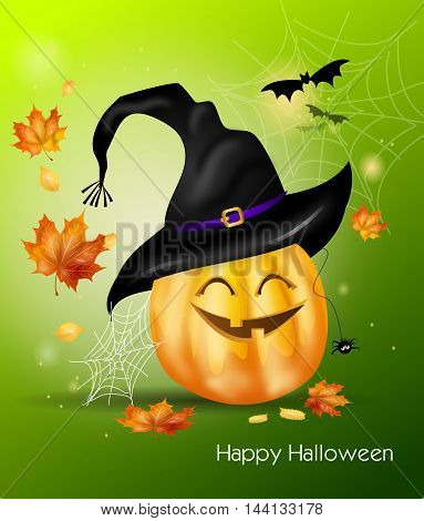 Cute illustration of halloween greeting card with pumpkin