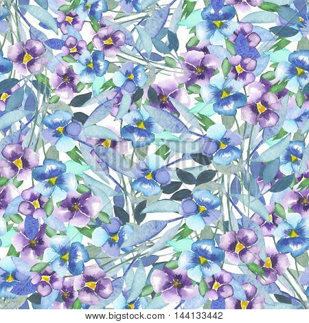 Seamless flower pattern with pansies painted in watercolor