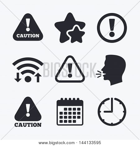 Attention caution icons. Hazard warning symbols. Exclamation sign. Wifi internet, favorite stars, calendar and clock. Talking head. Vector