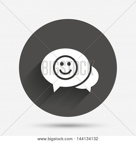 Chat Smile icon. Happy face chat symbol. Circle flat button with shadow. Vector