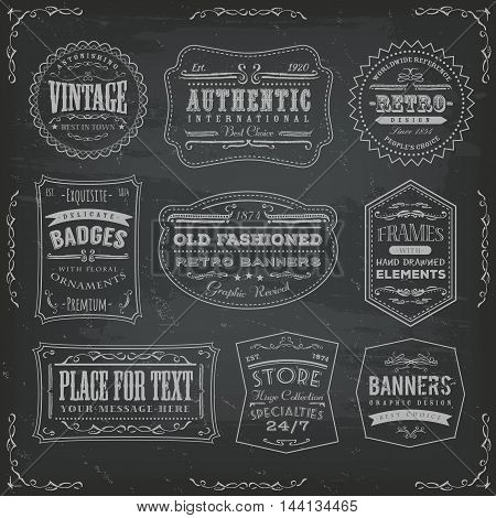 Illustration of a set of retro and vintage business labels and signs including seals badges certificates and sales tickets on chalkboard background