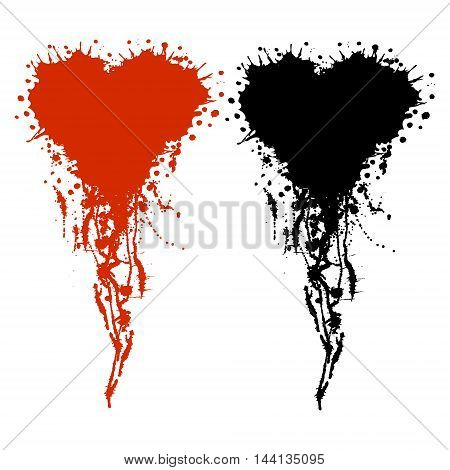 Vector hand drawn heart. Artistic creative black and red graphic illustration with inc splash blots and smudge isolated on the white background.