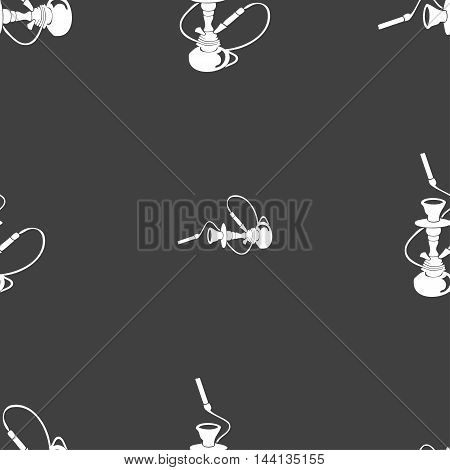 Hookah Sign. Seamless Pattern On A Gray Background. Vector