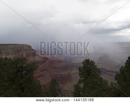 Storm clouds and rain in the Grand Canyon