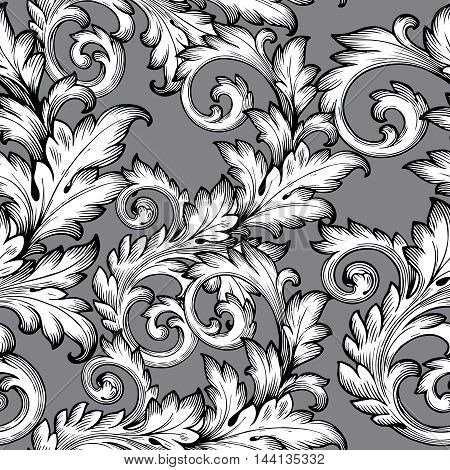 Baroque antique elegant floral  vector seamless pattern with vintage  white flowers and baroque medieval ornaments on the grey background. Royal  illustration and 3d vintage decor elements with shadow and highlights. Endless elegant  texture.