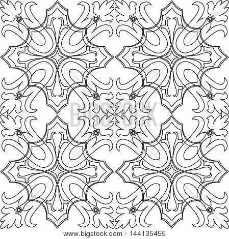 Vector black and white seamless pattern background. For coloring pages decoration page fill and more.
