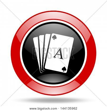 card round glossy red and black web icon