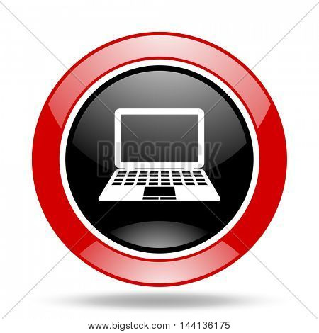 computer round glossy red and black web icon